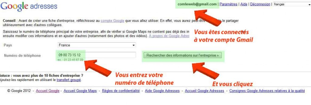 inscription Google Adresses étape 1