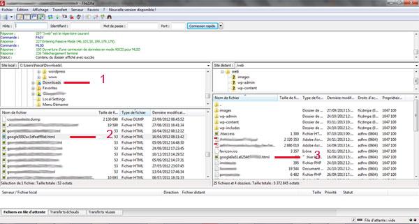 Insérer un fichier de validation html pour google webmasters à l'aide de Filezilla